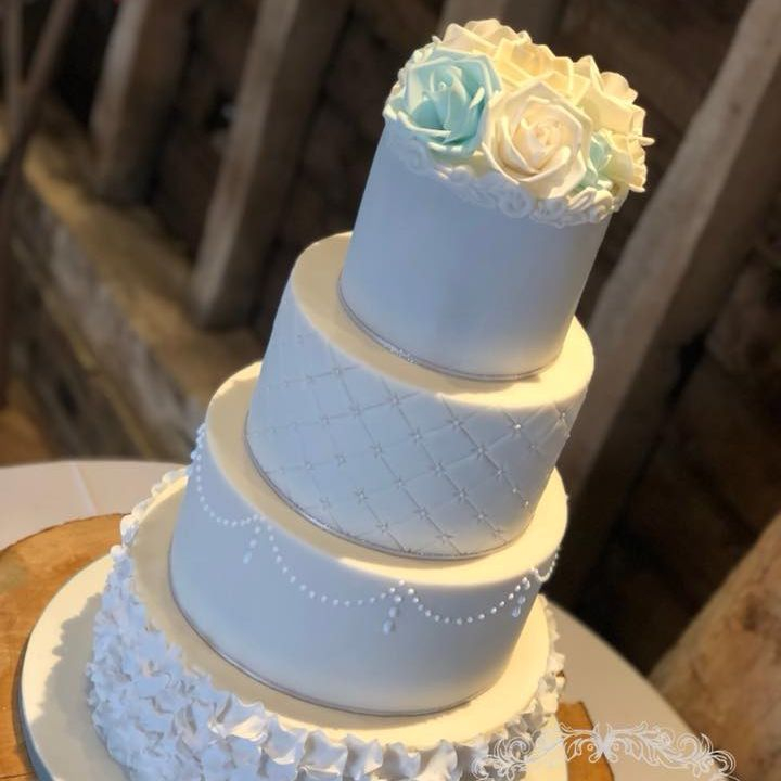 Wedding Cake Blue White Cream Roses Ruffles quilting Lace