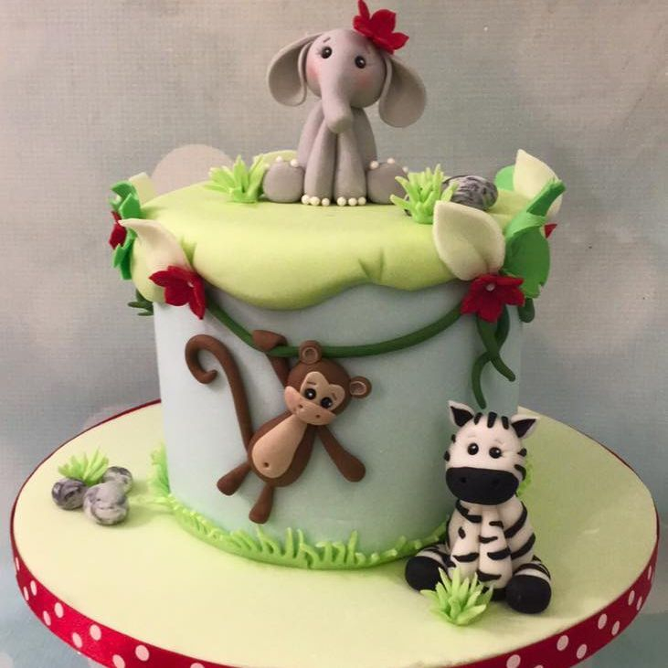 Jungle Birthday Cake Elephant Monkey Zebra Novelty Party