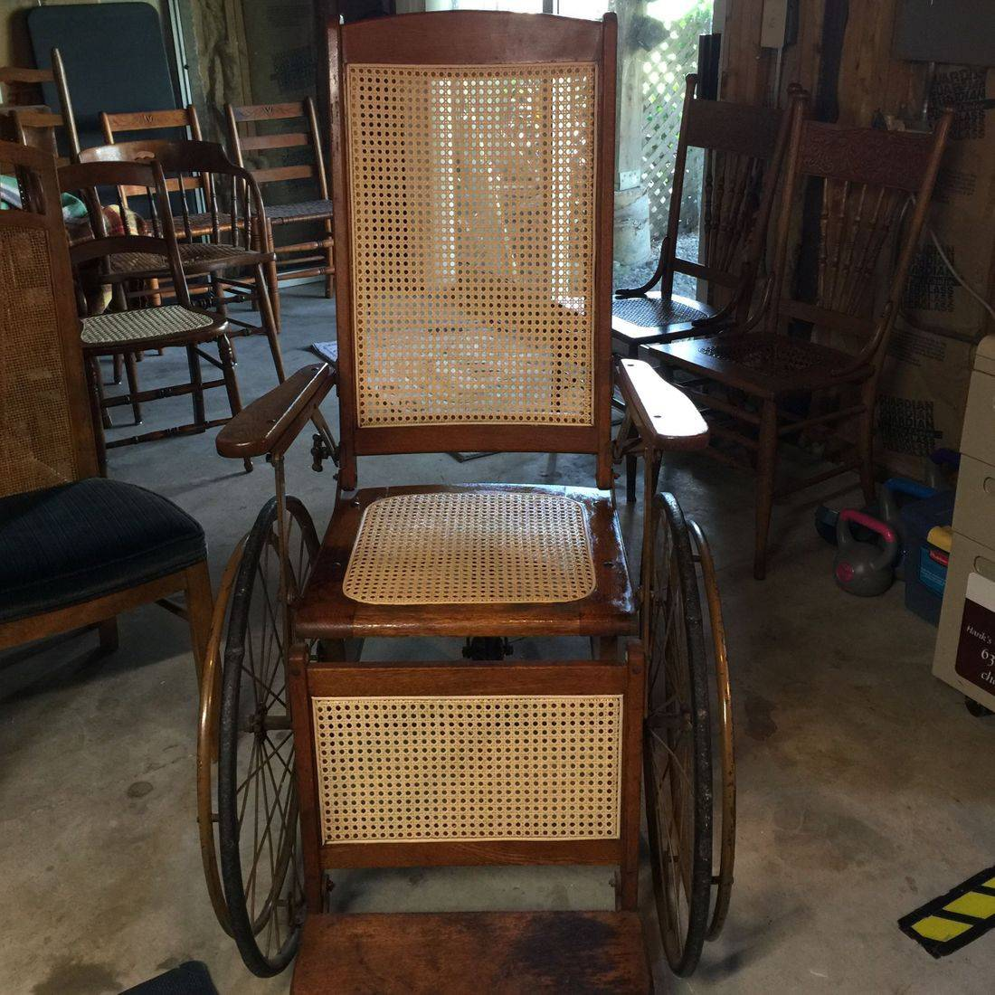 Pressed cane WW II era Wheelchair by Hank's Cane & Rush Restoration