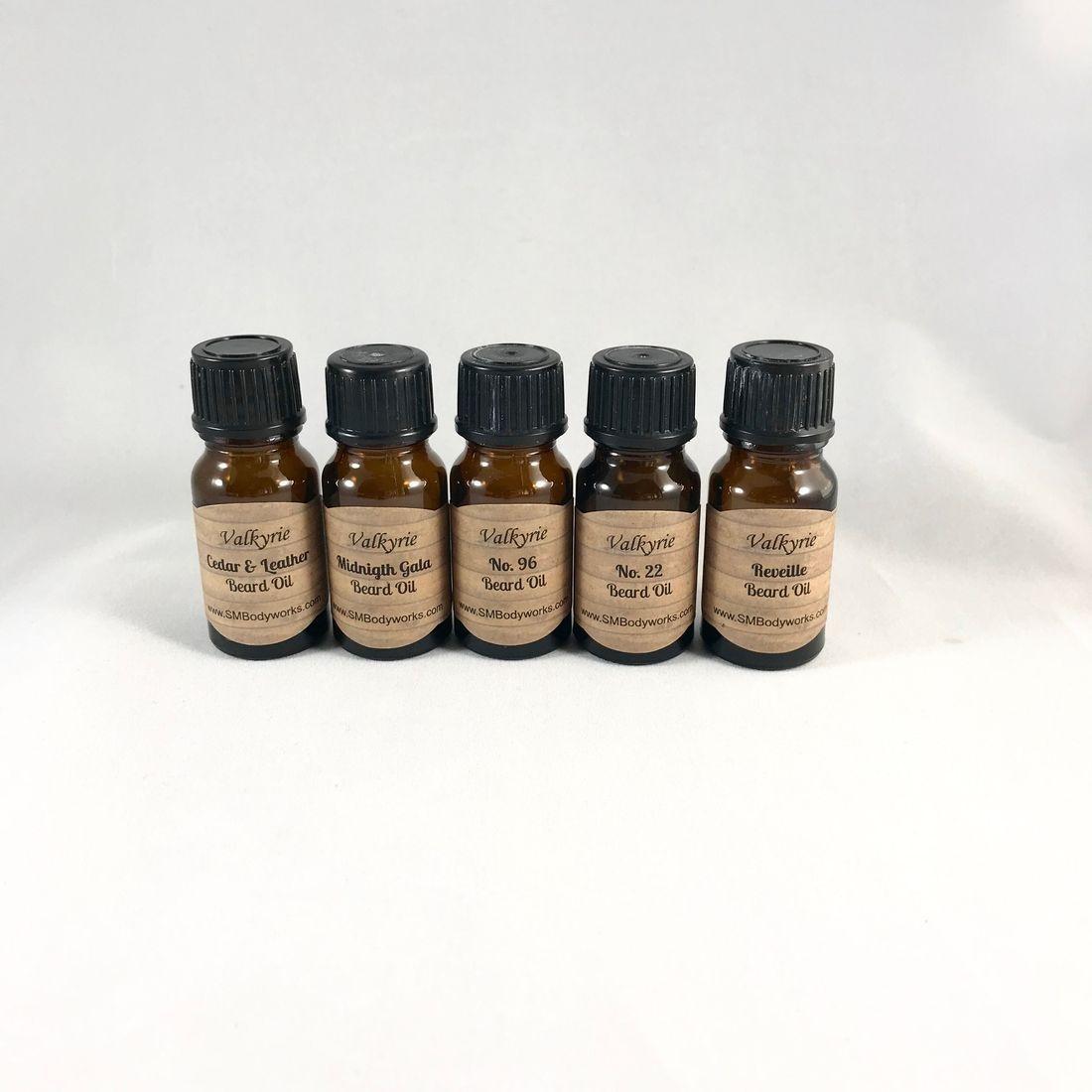 Beard Oil Sampler Pack, 10ml glass bottle, travel size. veteran owned.