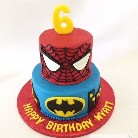 Spiderman and Batman Birthday Cake
