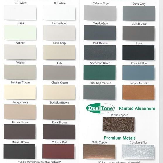 metal awning color chart