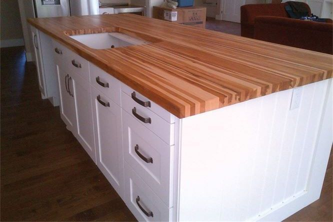 Rustic Maple edge grain island counter top with sink cutout