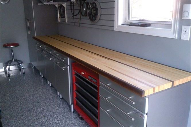 Maple edge grain garage work table with walnut striping