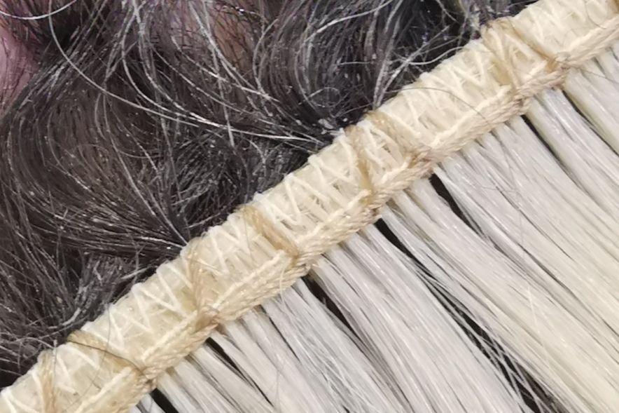 Close Up of The Holywood Weave Lock Stitch
