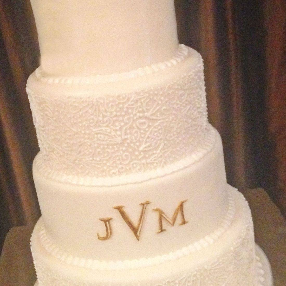 Custom Monogram Wedding Cake  Milwaukee