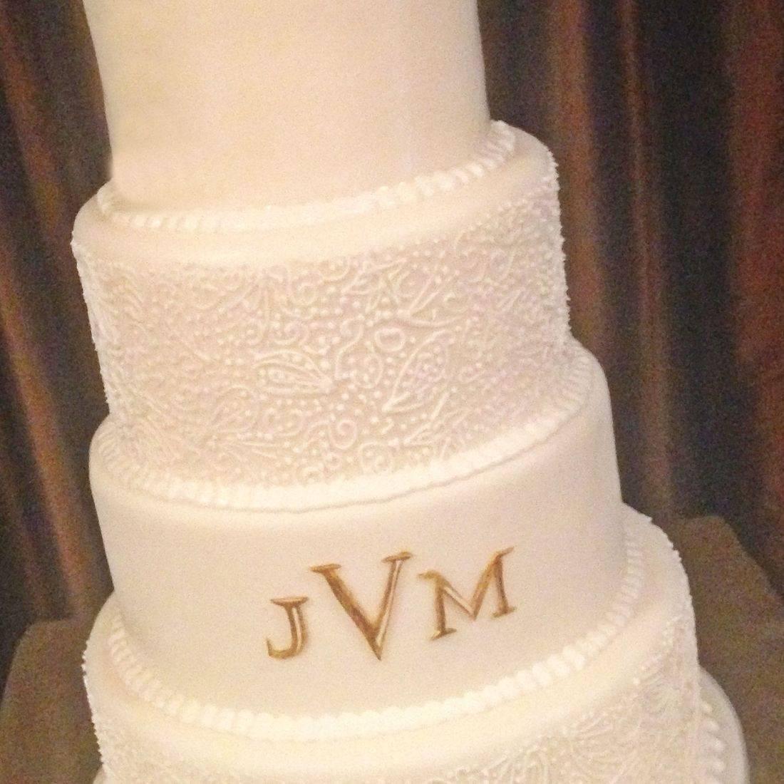 Custom Monogram Wedding Cake  Milwaukee