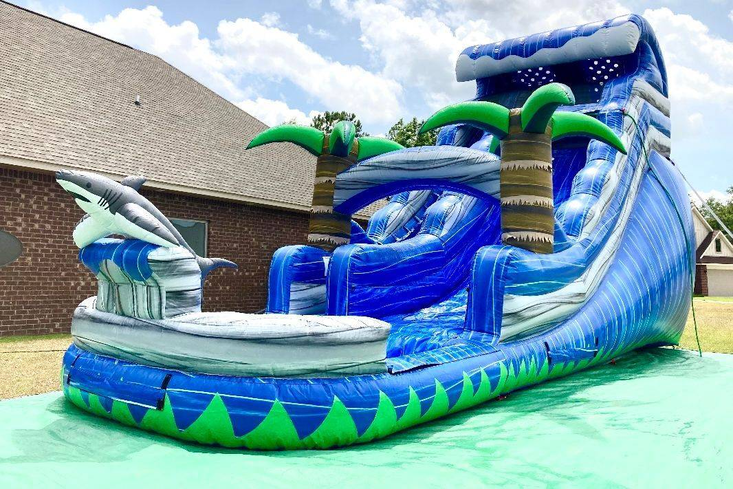 18ft wide lane tropical paradise dolphin waterslide inflatable party rental