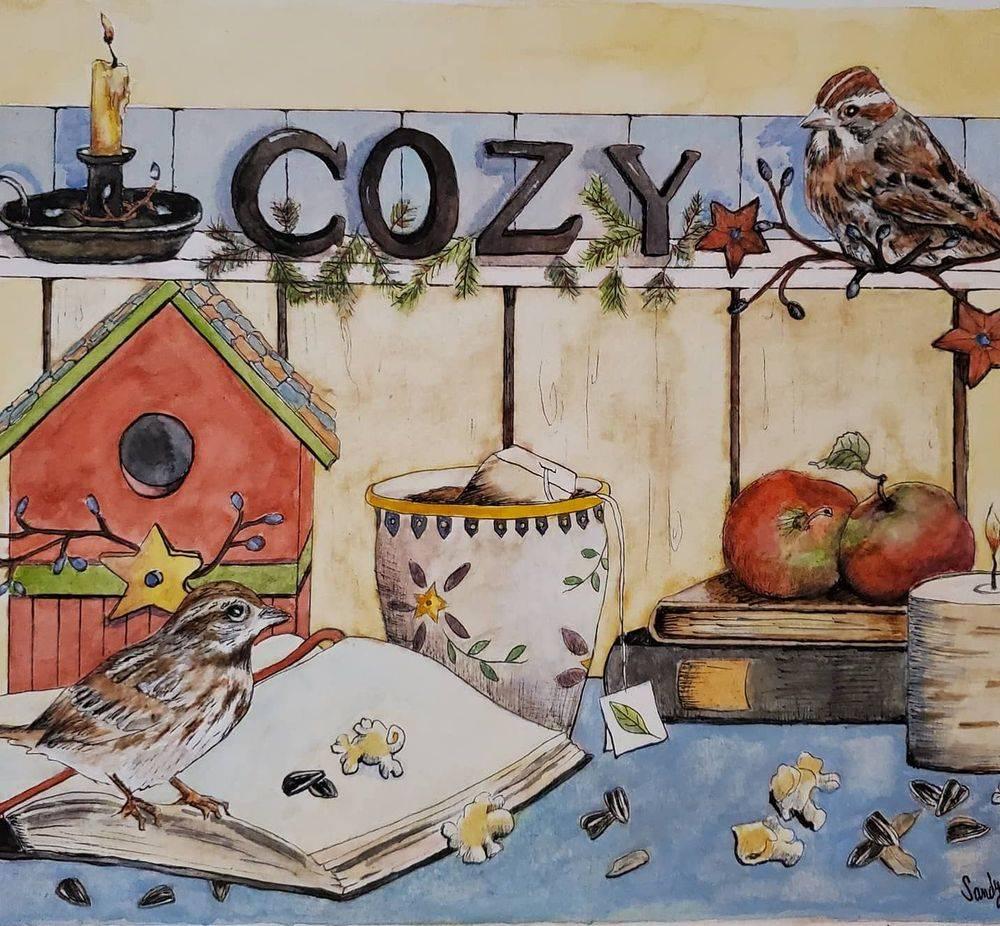 sandy bock, illustration artist, design artist, winetr art, country art, custom illustrations
