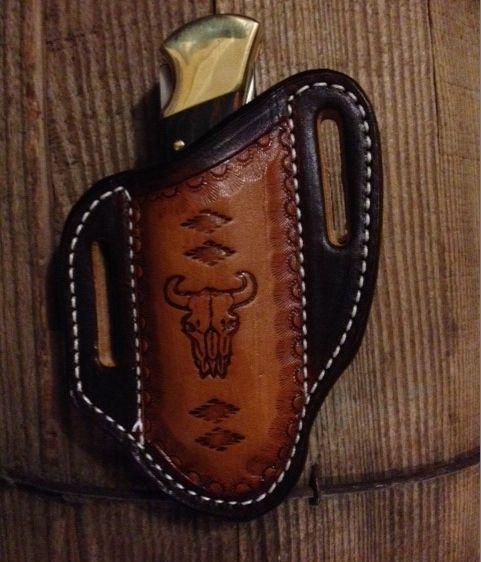 leather , buck 110 knife sheath , pancake style , tooled  leather