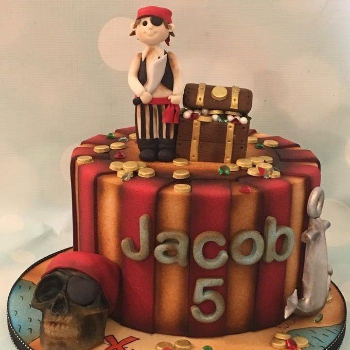 Pirate Skull Cake Treasure Chest Anchor Kids Child