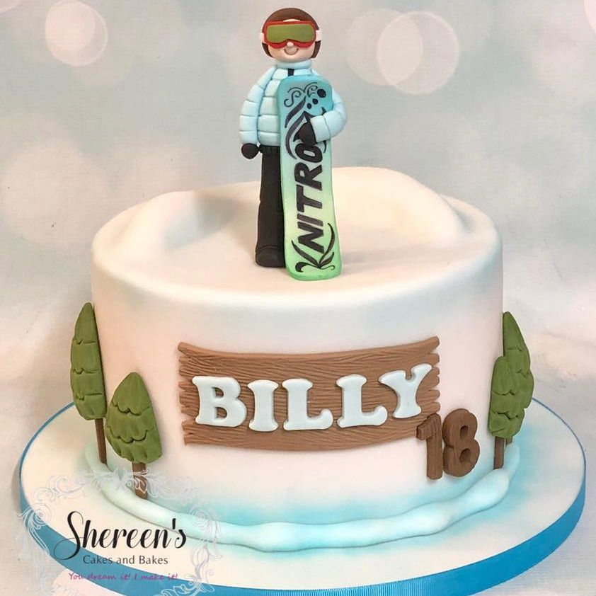 Birthday Cake Novelty Snow Boarding Snowboard snowboarding