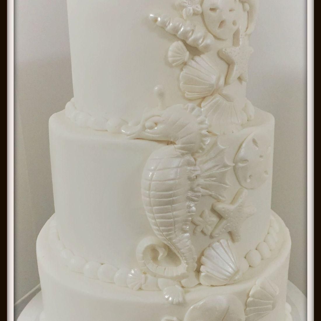 wedding cake  buttercream seashells seahorses sea ocean cake