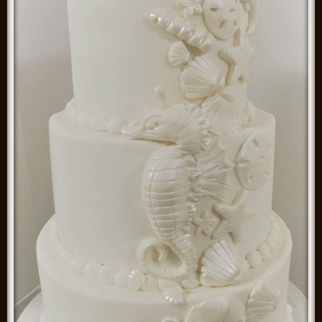 wedding cake  buttercream seashells seahorses sea ocean cake