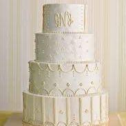 buttercream wedding cake with stripes and monogram elegant classic modern wedding cake