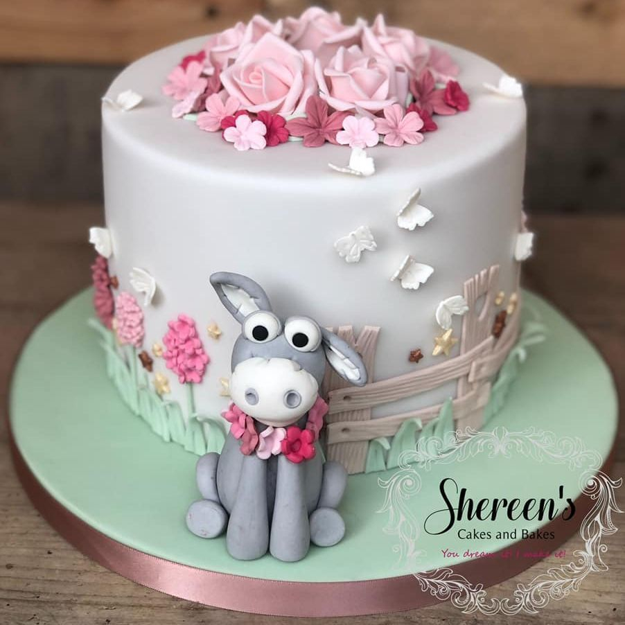 birthday cake donkey flowers pastel girl vintage