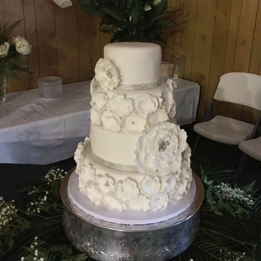 Wedding cake white modern flowers silver crystals