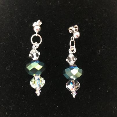 Turquoise Crystal, Earrings, women's earrings, sterling silver earrings, crystal earrings