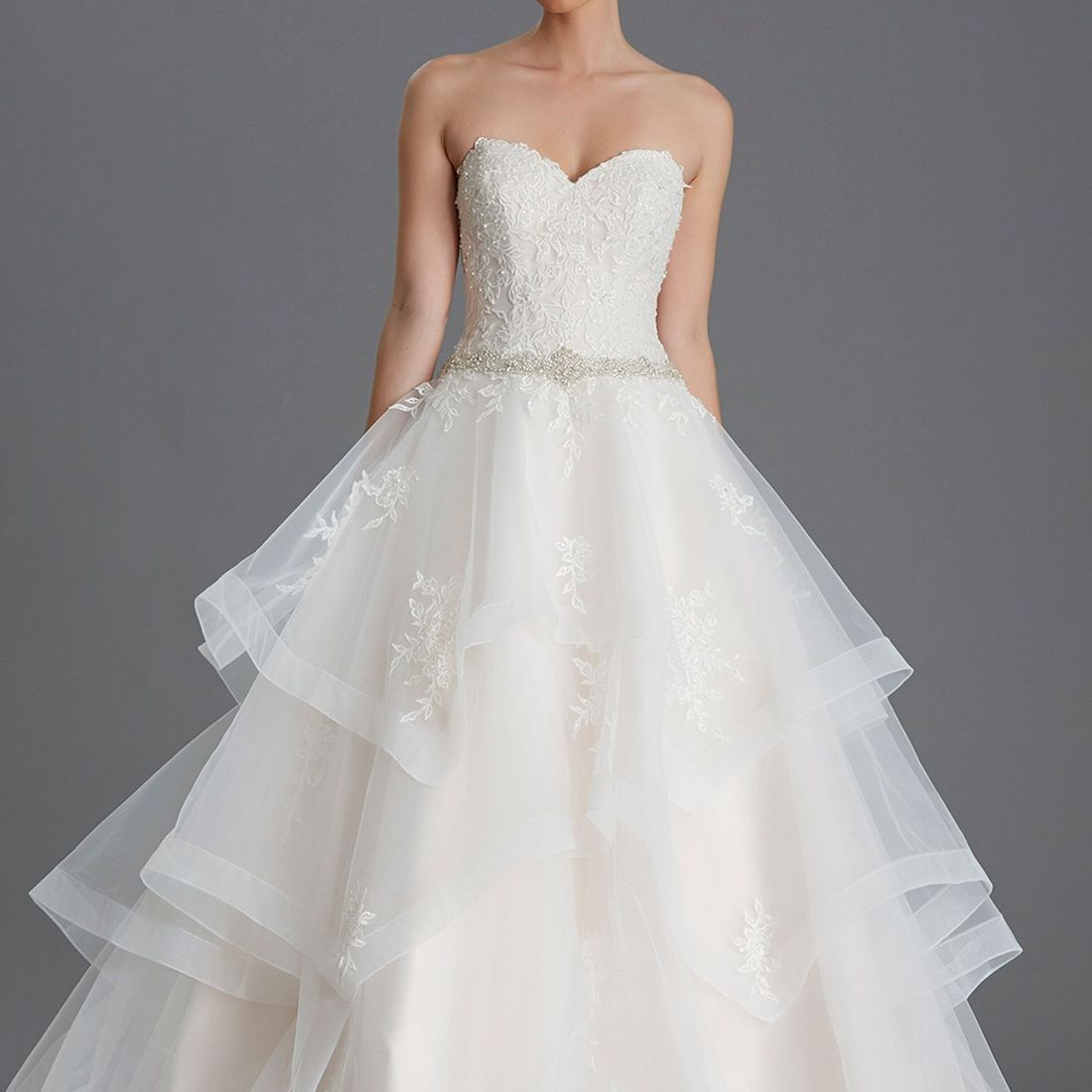 Strapless crystal bodice, layered tulle skirt