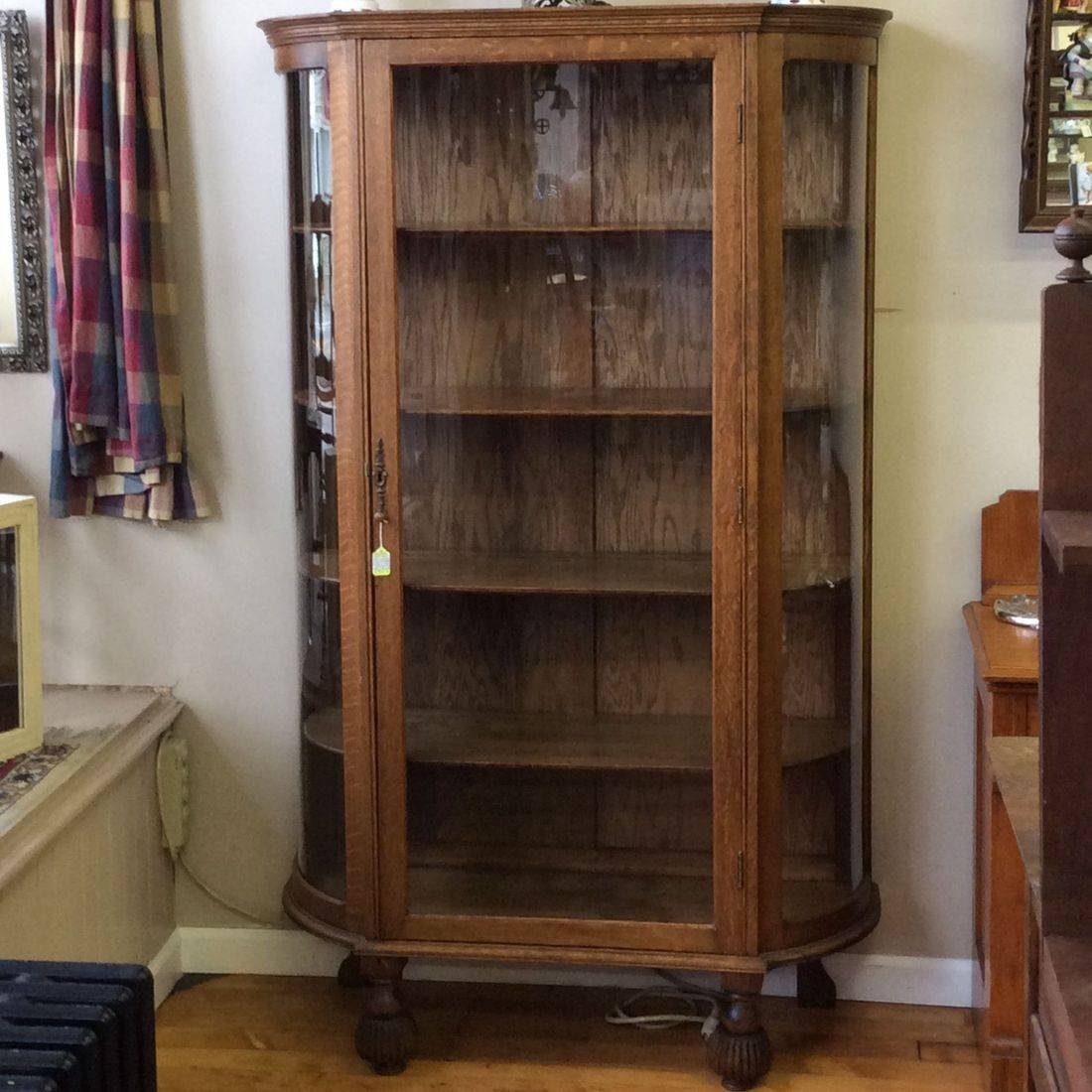 "Circa 1920's Oak Curved Side Glass 4-Shelf China Cabinet  47""W x 17""D x 67""H.  $350.00"