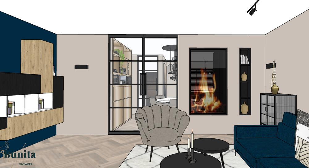 Indelingsadvies 3D ontwerp meubelplan hotel chique doorkijkhaard interieuradvies