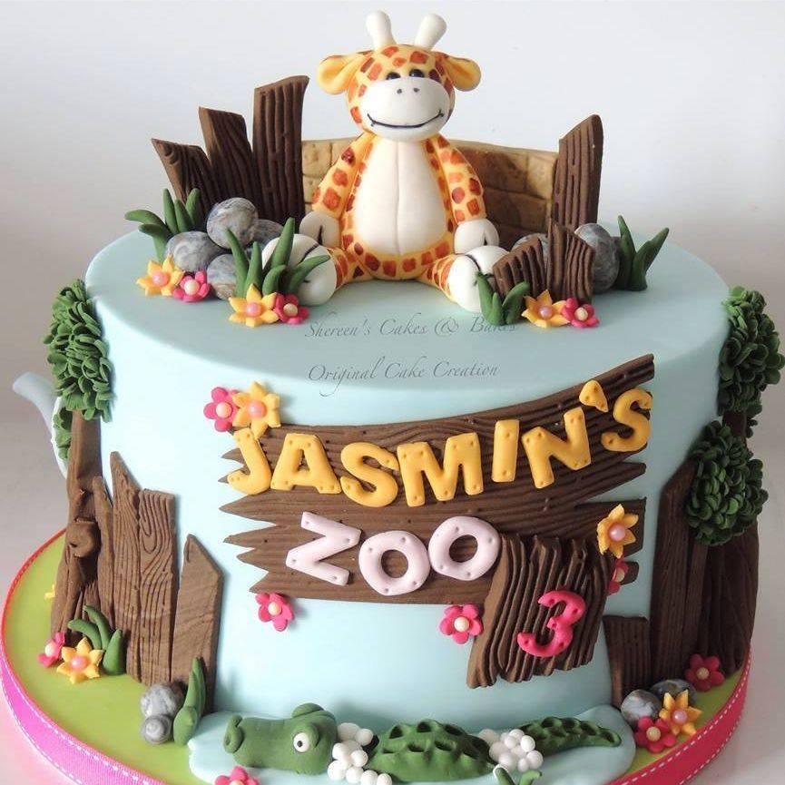 Zoo Cake Lion Elephant Giraffe Birthday