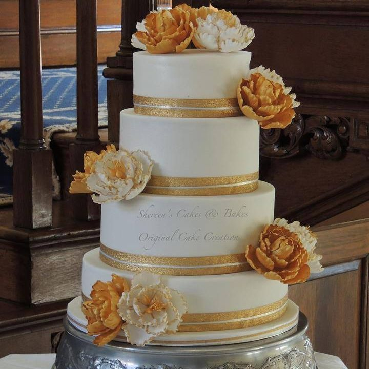 Gold White Peony Fantasy Flower Wedding Cake