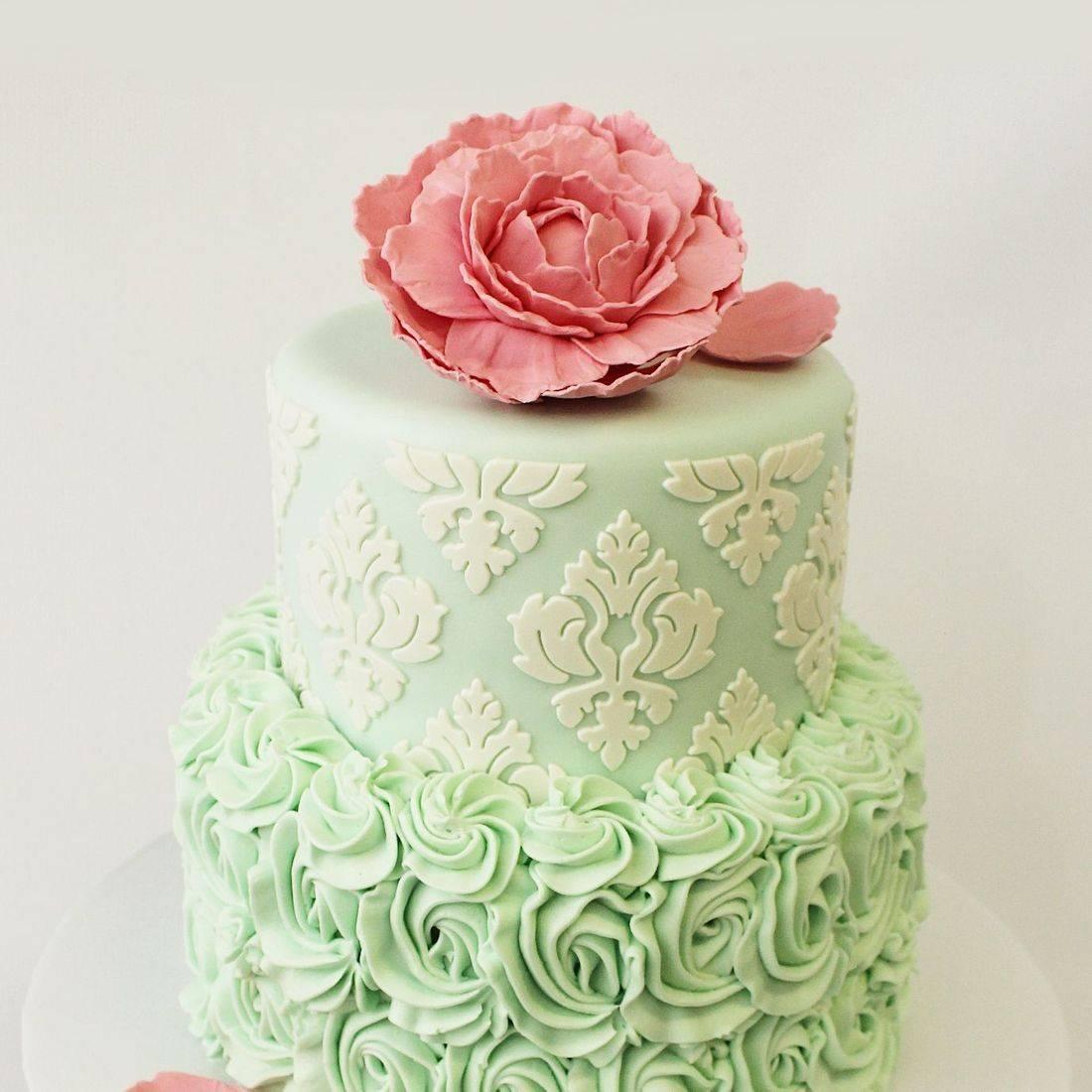 Custom Mint Green Pink Flower Cake  Milwaukee