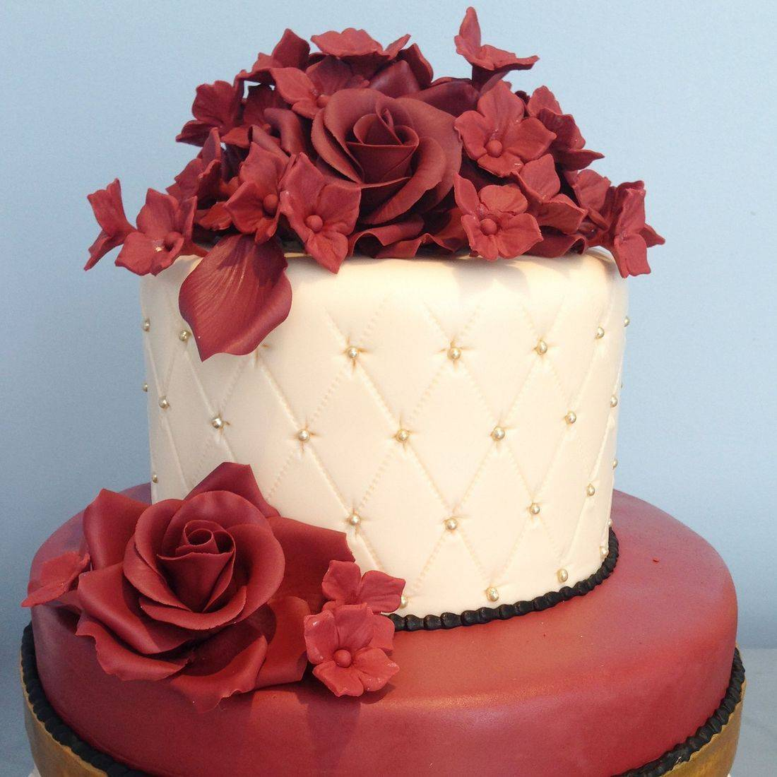 Custom Burgundy Rose Cheetah Print Tufted Cake  Milwaukee