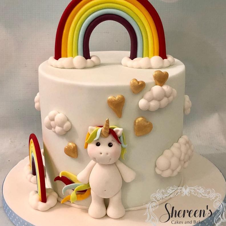 Unicorn Rainbow Birthday Cake Clouds Gold Hearts