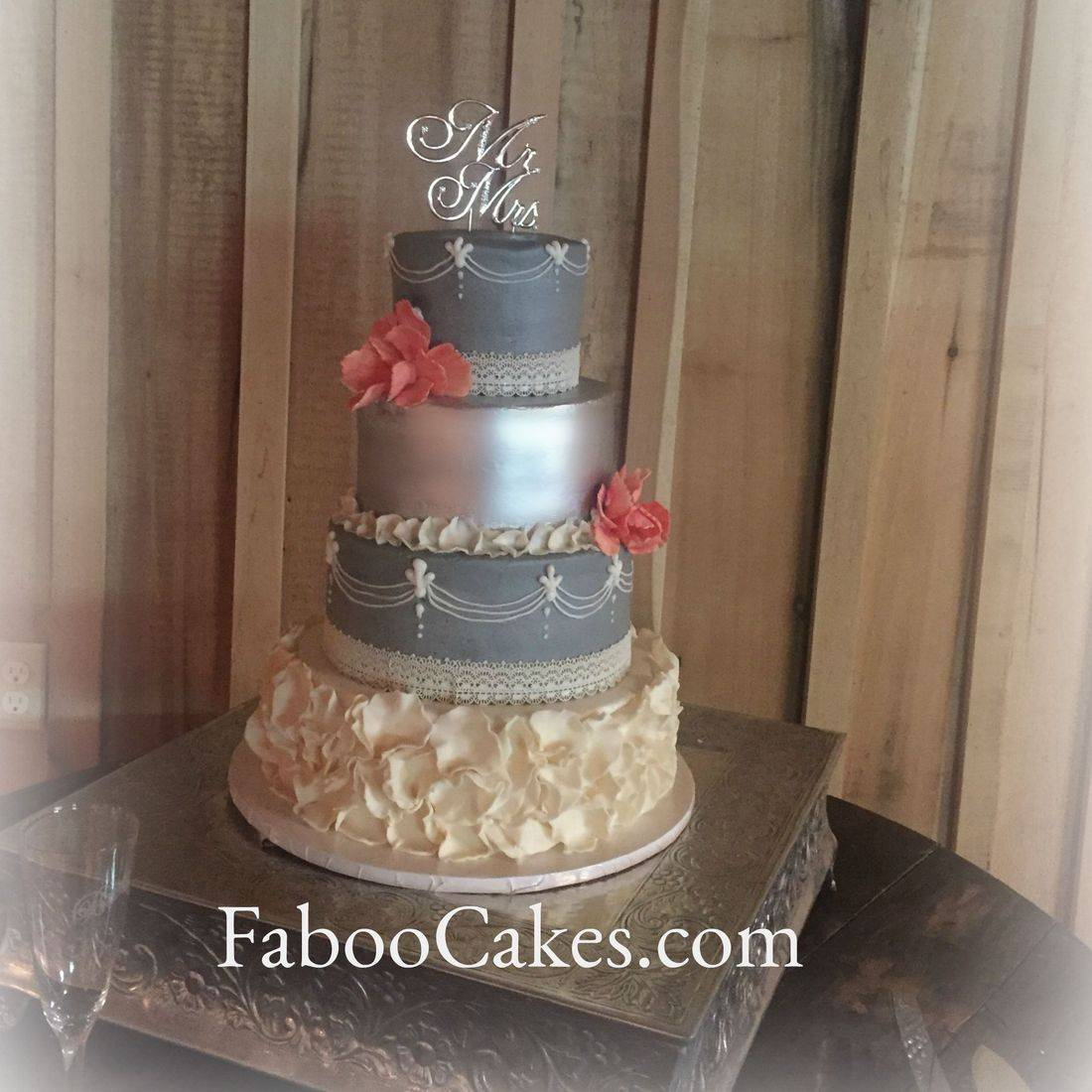 silver cream and lavender wedding cake with petals ruffles pearls piping