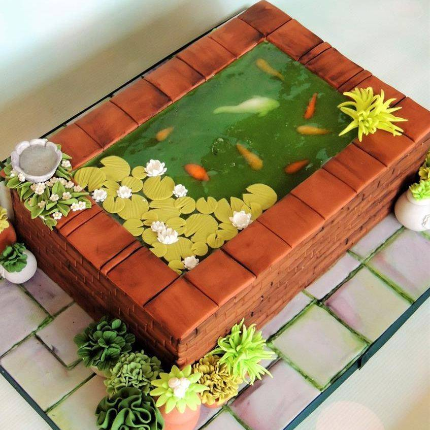 Fish Pond Birthday Koi Cake Plants