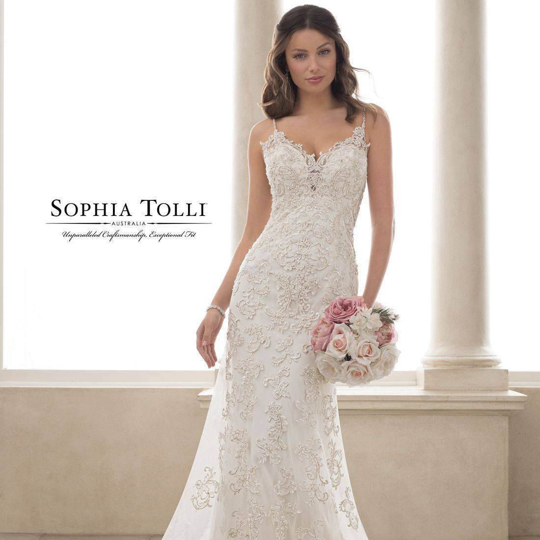 Fitted wedding dress, sophia tolli, sophia tolli wedding dress, spaghettin straps, straps, v neck, sweetheart neck, lace, plus size, deep v back, illusion,