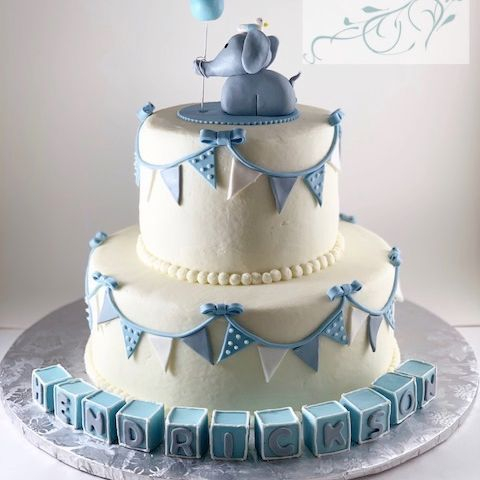 Boy Elephant Baby Shower Cake