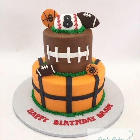 Basketball Football Baseball Birthday Cake