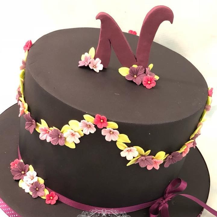 Pretty Black Cake Bright Flower Purple Pink Initial