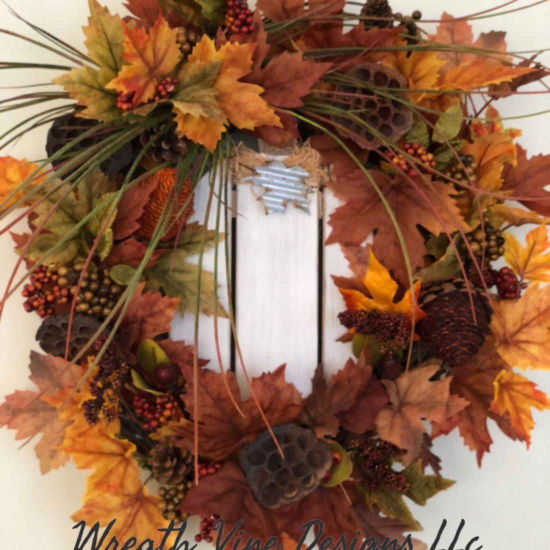 Leaves & Pumpkin Wreath