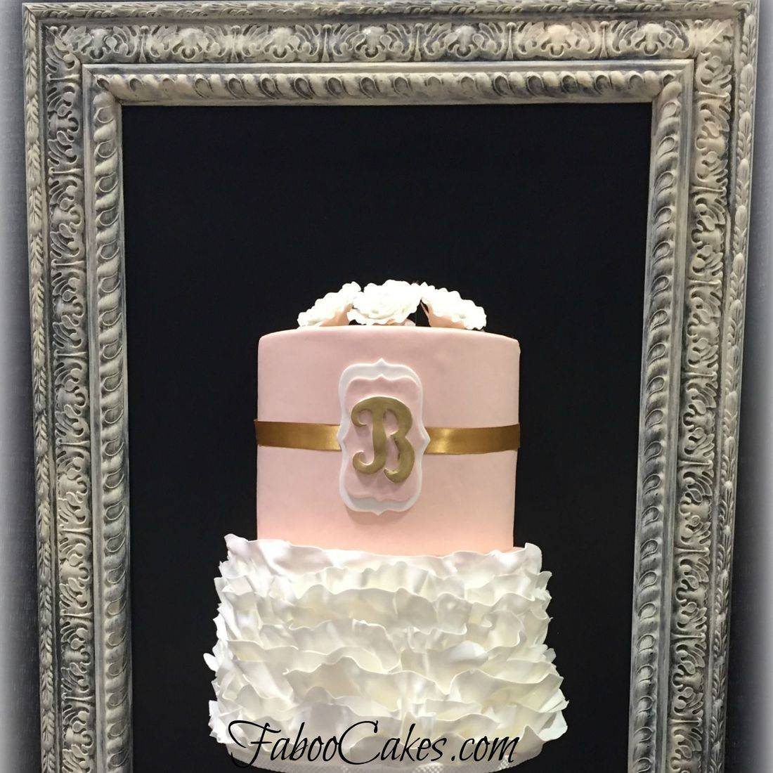 wedding cake with ruffles buttercream cake gold  pink