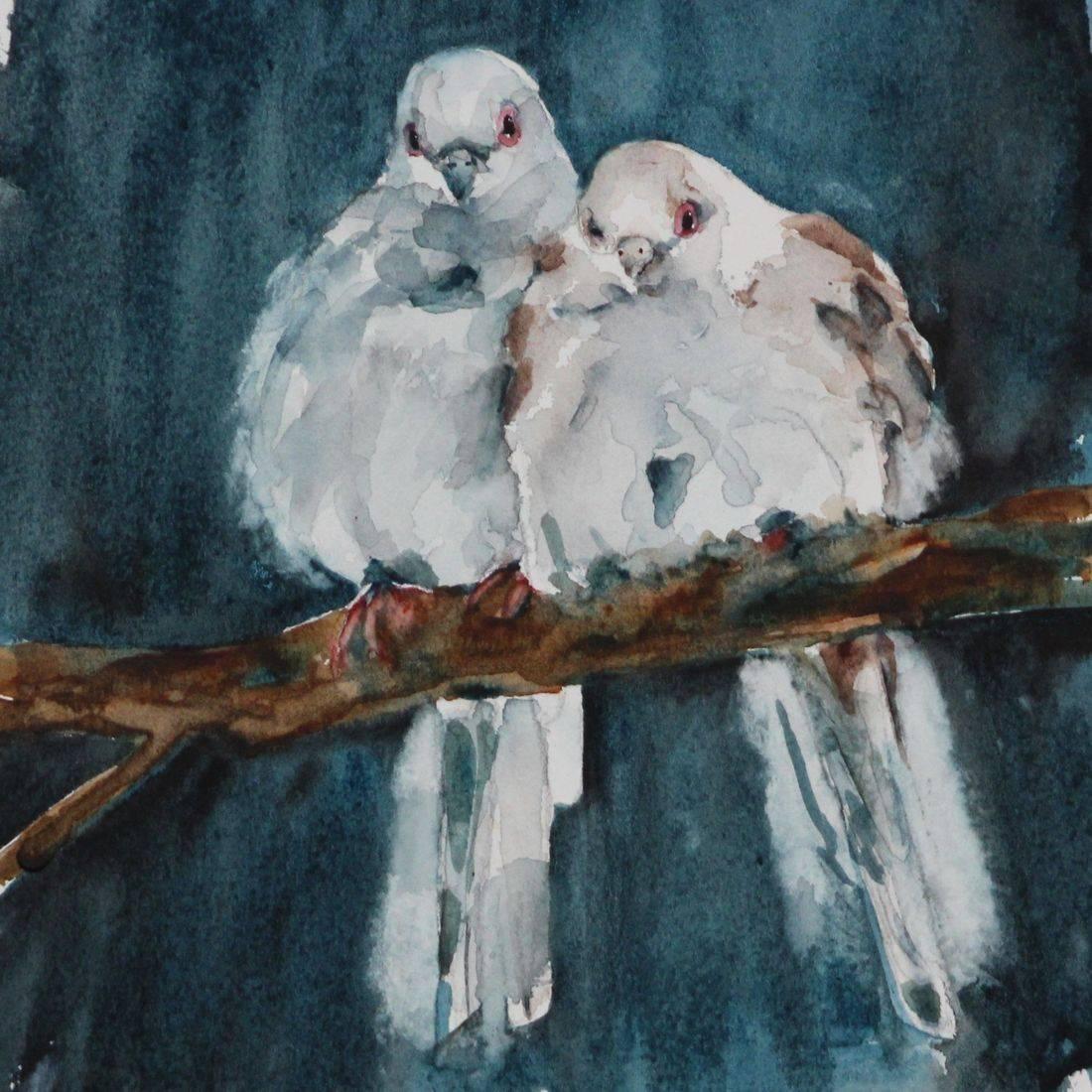 Rebecca Krutsinger nature watercolor painting of bird diving for fish