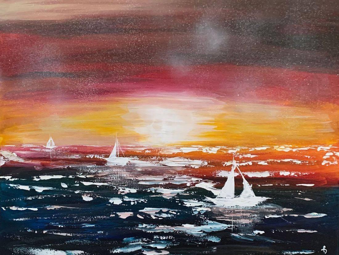 Catch of the Day, sailboats, calm ocean, Oregon Artist, Abstract Artist, Local Artist, Hope Angel Fine Art