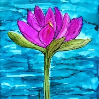 Lotus Flower, Alcohol Ink on Ceramic Tile