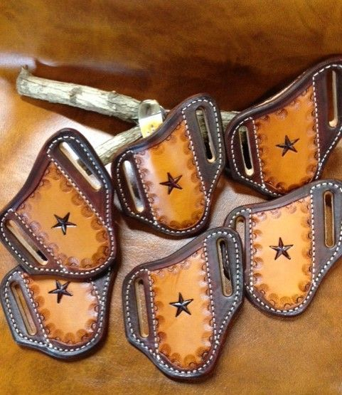 Trapper knife sheath , texas star sheath , knife holder , custom leather , belt sheath