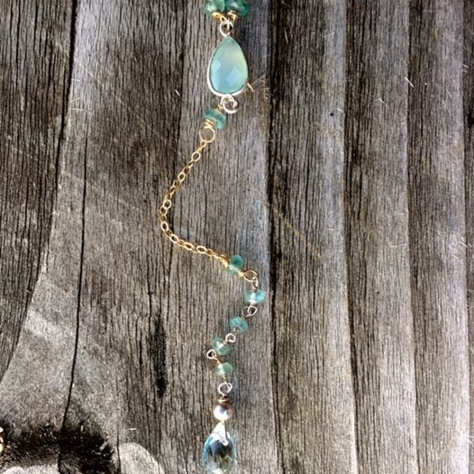 14k gold filled y necklace, with aquamarines