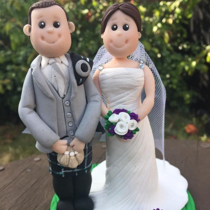 Bride Groom Personlised Family Pet Keepsakes Wedding Clay Topper Scottish Kilt Thistle