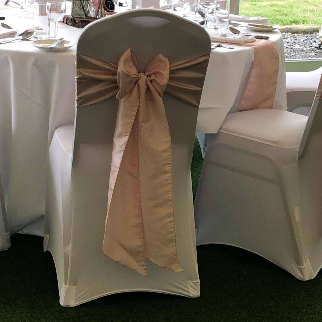White Chair Cover with Ice Pink/Blush Sash