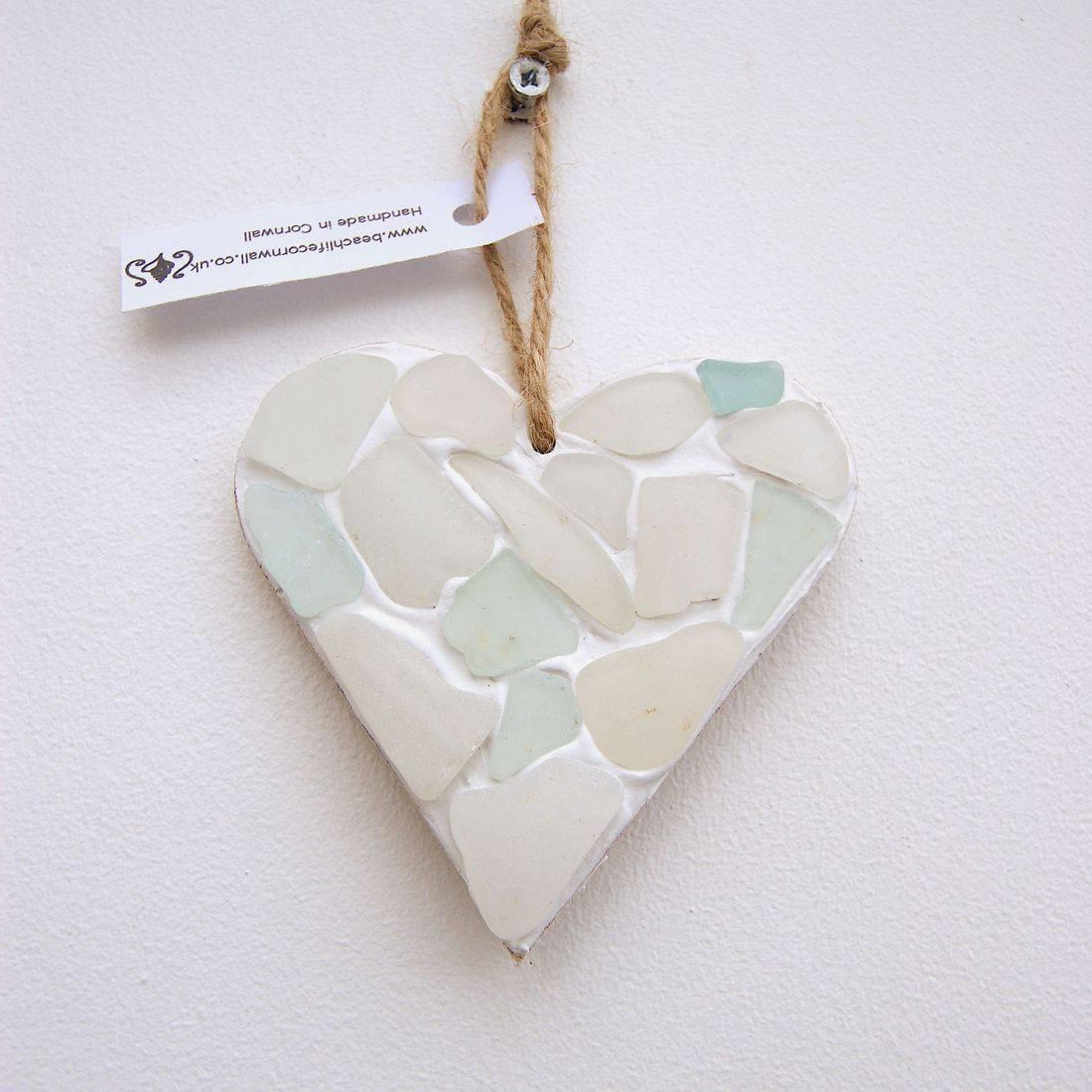 mini heart seaglass clear