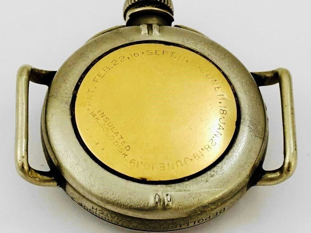 1919 Depollier Waterproof Trench Watch, EXTREMELY RARE 14k Solid Gold Case Back Disk