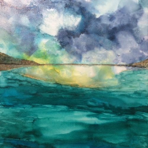 Alcohol Ink Abstract Seascape on Canvas