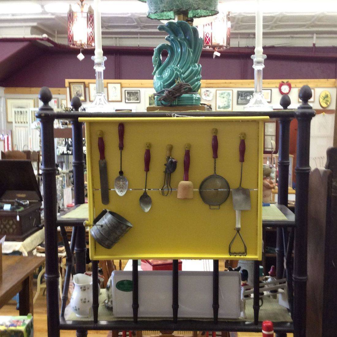 Yellow Shadow Box w/1930's Child Size Kitchen Utensils   $58.00