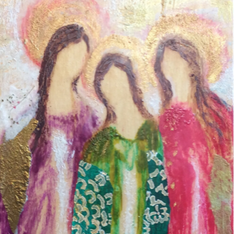 Encaustic Angels, Three Sisters, Mixed Media Collage